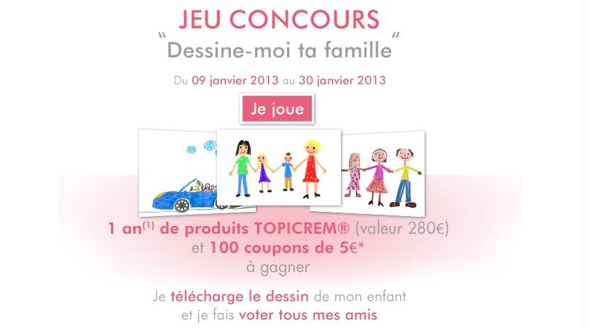 09 01 2013 Topicrem Lancement Du Jeu Concours Dessine Moi Ta Famille